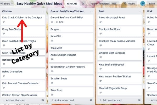 listing meals by category when using trello to organize your life as a mom