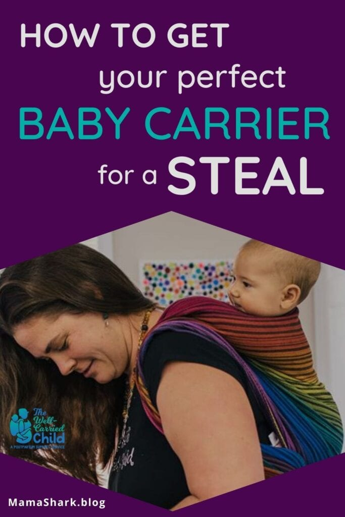 Woman babywearing a baby with a baby carrier she bought on a budget
